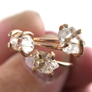 Herkimer Diamond Claw Ring
