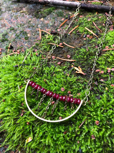Raspberry Bead Crescent Necklace