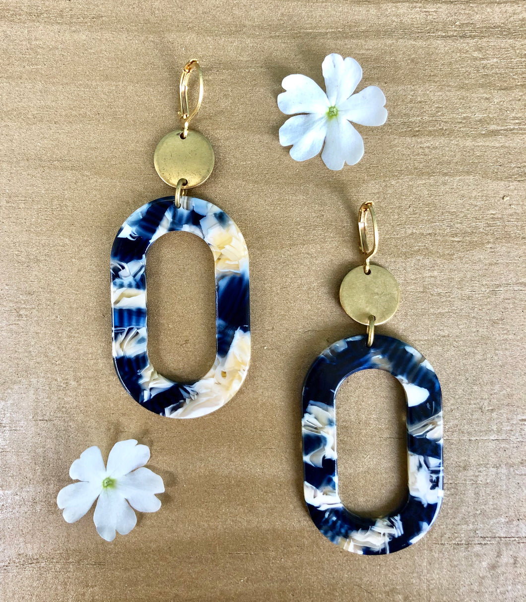 Multi Color Navy Oval Earrings