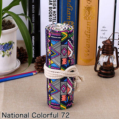 National Embroidery Pencils Pouch Bag 36/48/72 Holes Roll Brush Case cartucheras para lapices Gift Bag Art Supplies