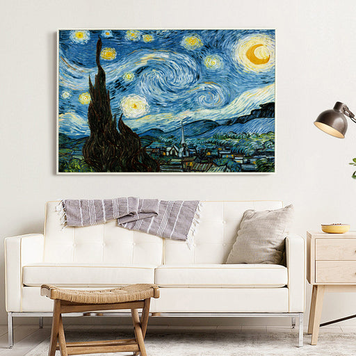Bianche Wall Starry Night by Vincent Van Gogh Famous Artist Art Print Poster Wall Picture Canvas Oil Painting Home Wall Decor