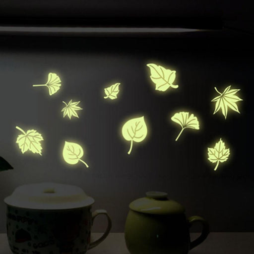 Super Deal  Flying Leaves Children Bedroom Fluorescence Cartoon Wall Stickers XT