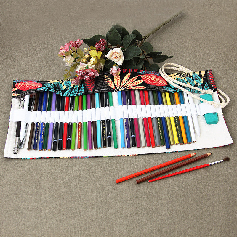 Fashion Canvas Storage Pencil Case 48 Hole Roll Brush Case DIY Painting Pencil Bag cartucheras para lapices Art Supplies