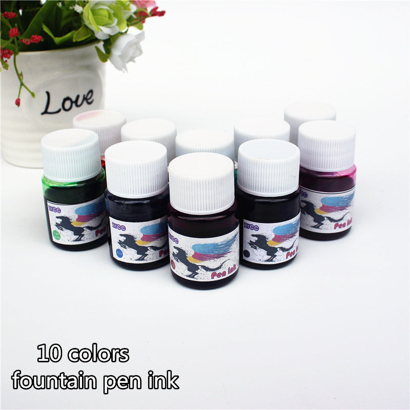 Fountain Pen ink bottled 15ML 10 colors portable pen ink quality is not hurt pen