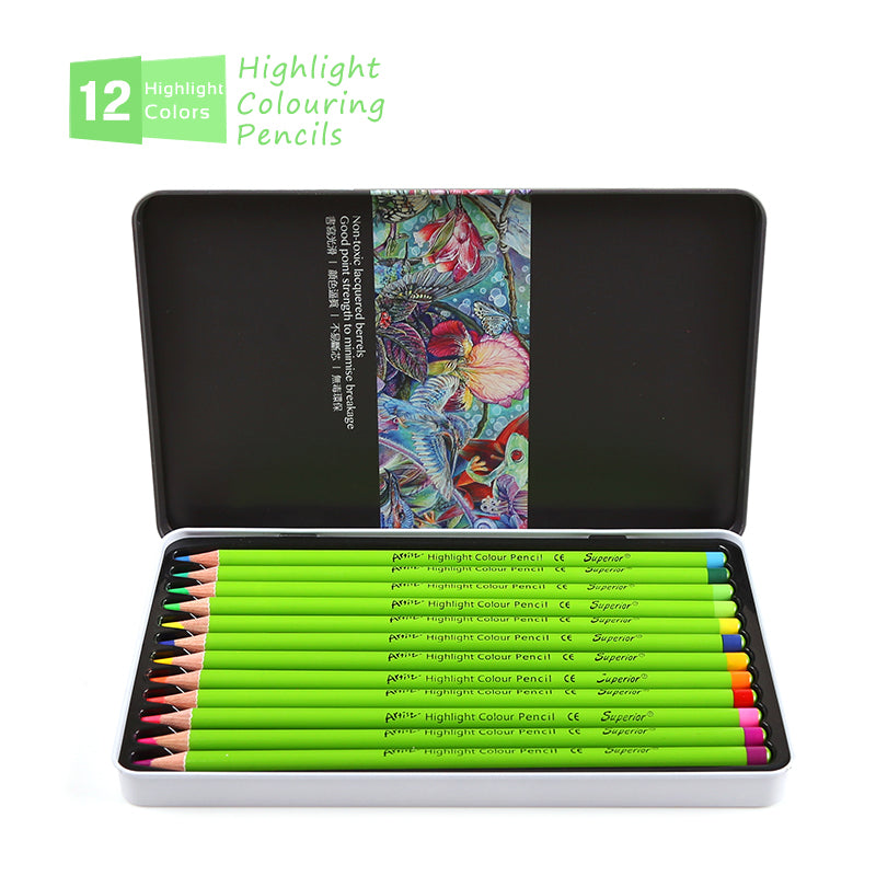 Superior 12 Colors Highlight Colouring Pencils Non-toxic Colored Pencils Set For School Drawing Lapices De Colores Art Supplies