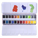 24 Colors Professional Portable Plastic Box Solid Watercolor Painting Set For Artist Watercolor Art Drawing Supplies