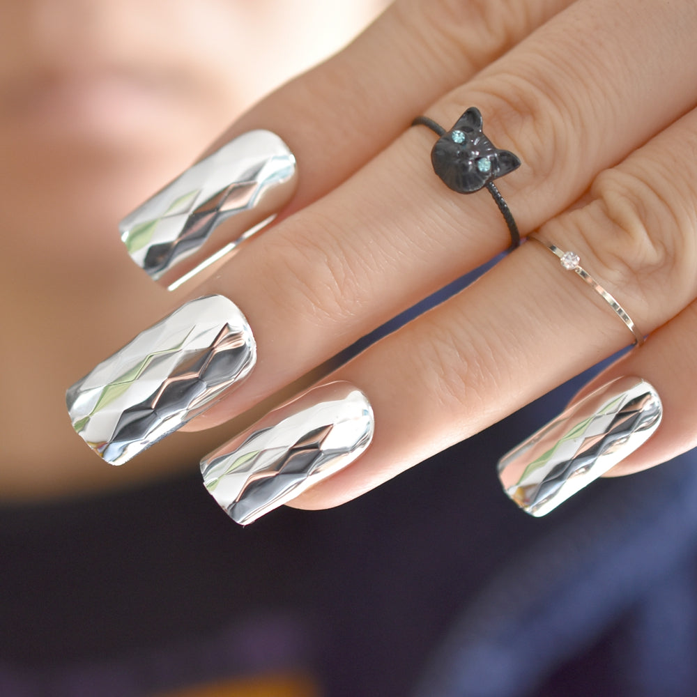 Silver Mirror Nail Tips Long Size Diamond Pattern Kit Flat Acrylic ...