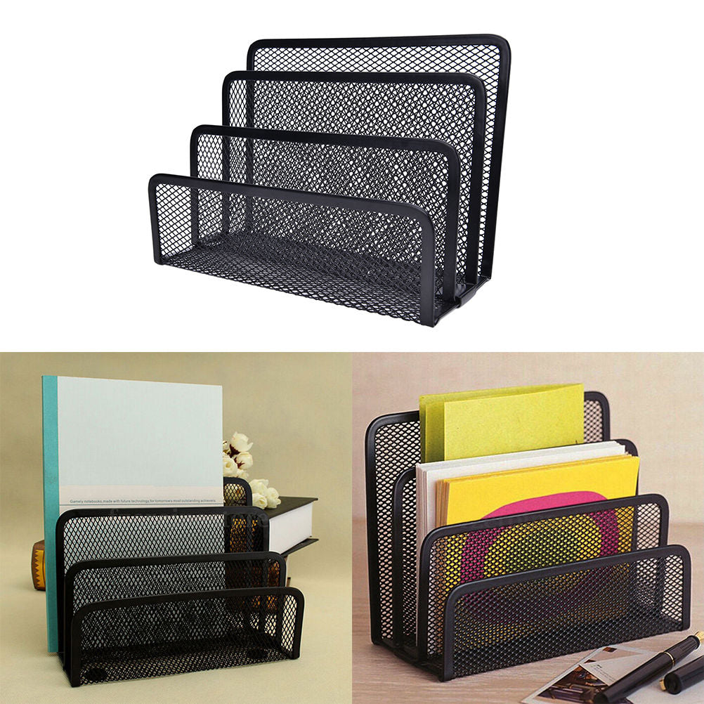 Awesome Black Metal Mesh Desk Organizer Desktop Letter Sorter Mail Tray File Organiser Office Home Bookends Book Holder Business Download Free Architecture Designs Intelgarnamadebymaigaardcom