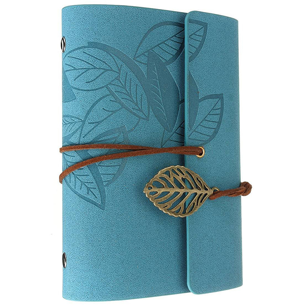 Diary notebook vintage style leather blue