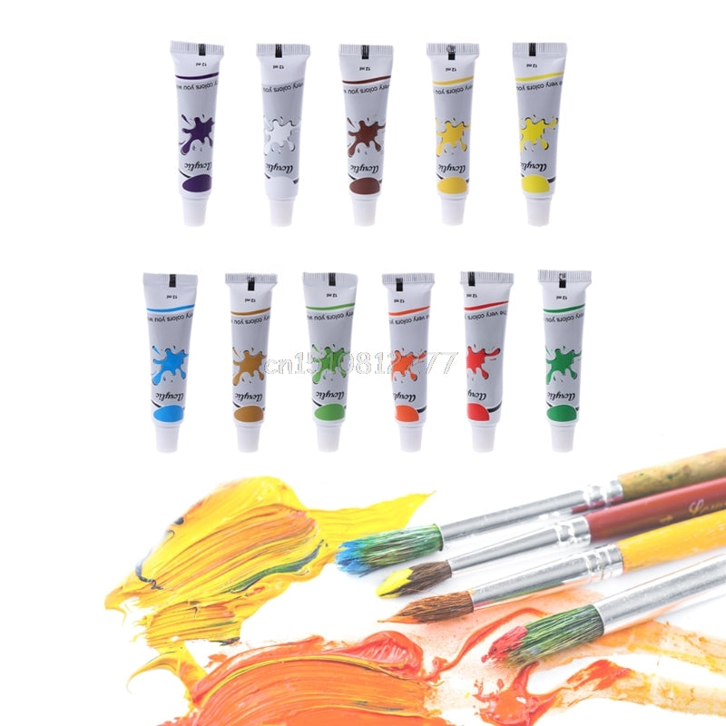12 Color Acrylic Paint Set 12 ml Tubes Artist Draw Painting Pigment
