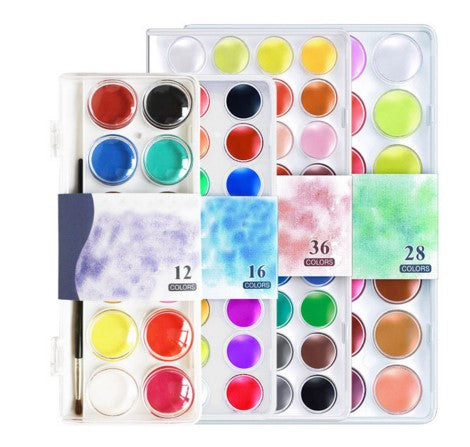 12~36 Colors Solid Watercolor Cake Outdoor Paint set Pigment Set Transparent Box Watercolor Painting Supplies with1 paint brush
