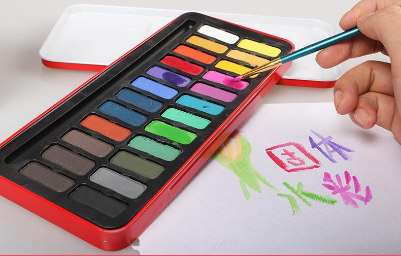 Watercolor Paints 24colors/set Solid Guache Paint case Portable Perfect Outdoor Painting Pigment Kids Gift Art Supplies AGW024