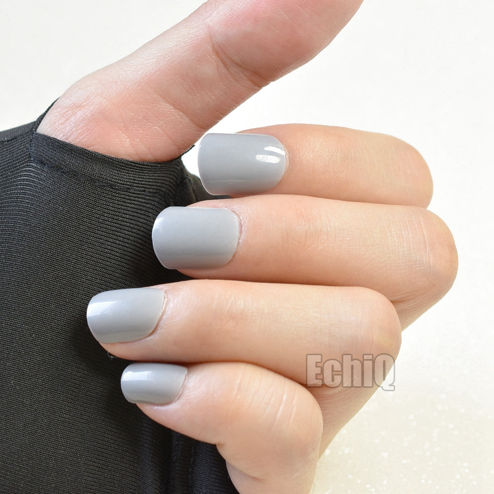 New Arrival Grey Finished Nail Art Tips Short Paragraph Full Cover ...
