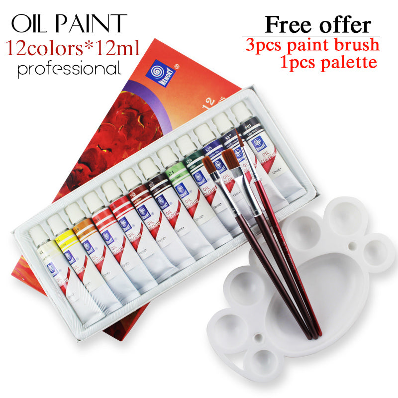 Professional Brand Tube Oil Paints art for artists Canvas Pigment Art Supplies Drawing 12 ML 12 Colors paint tool Set