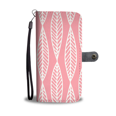 Pink Leaf Pattern Wallet Case