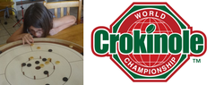 Child Playing Crokinole, World Crokinole Championship logo