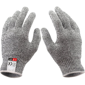 Cut Resistant Gloves - Gray, High Performance Level 5 Protection, Food Grade