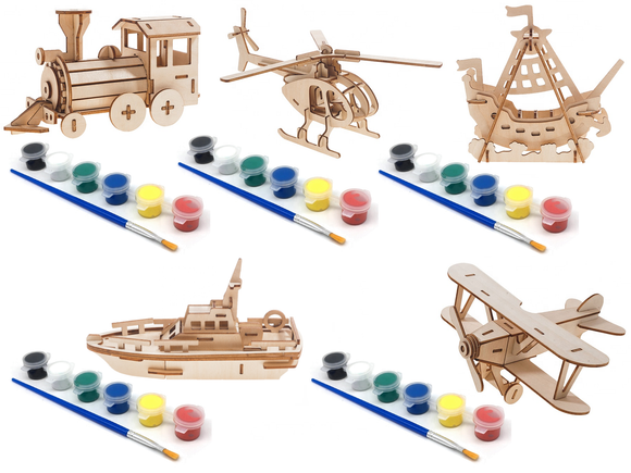 Woodcraft 3D Puzzles (Set of 5 includes Locomotive, Lifeboat, Sea Rover, Airplane, and Helicopter) with 5 Sets of Paints