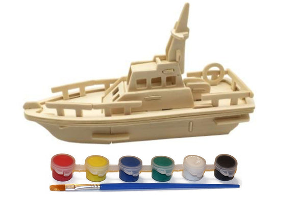 Wood Craft 3D Boat Puzzle with 6 Paint Colors