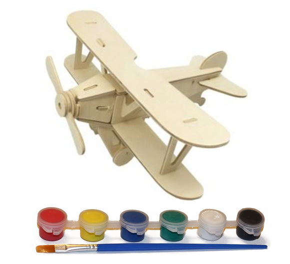 Wood Craft 3D Airplane Puzzle with 6 Paint Colors