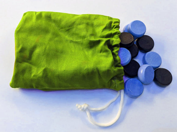 Crokinole Checkers (Blue and Black) with Drawstring Bag