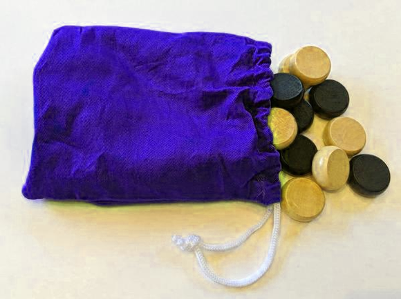 Crokinole Checkers (Light and Dark) with Drawstring Bag