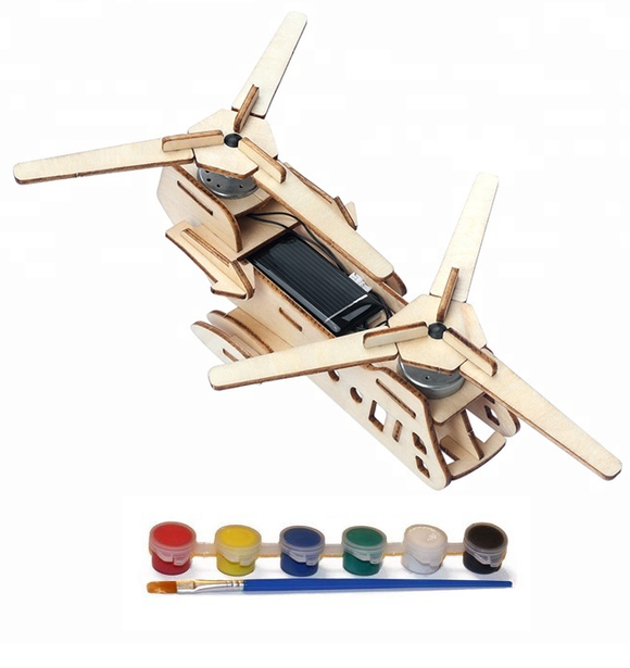 Original Hobby Wood Craft 3D Puzzle (Solar-Powered Helicarrier)
