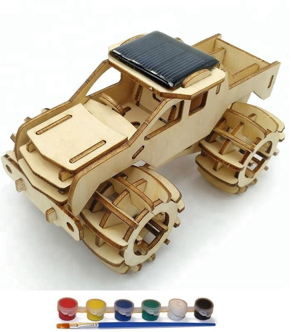 Original Hobby Wood Craft 3D Puzzle (Solar-Powered Monster Truck)