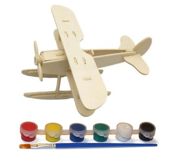 Wood Craft 3D Seaplane Puzzle with 6 Paint Colors