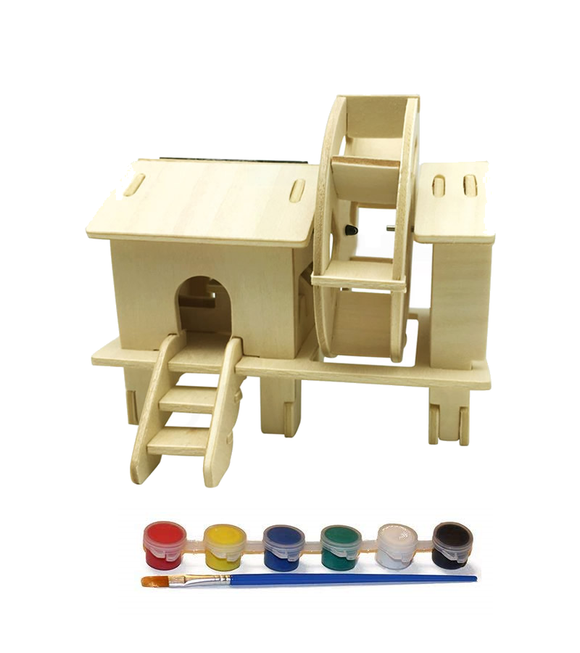 Original Hobby Wood Craft 3D Puzzle (Solar-Powered Watermill) with 5 Paints