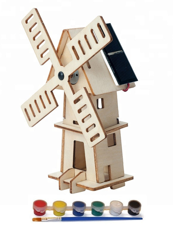 Original Hobby Wood Craft 3D Puzzle (Solar-Powered Windmill) with 5 Paints
