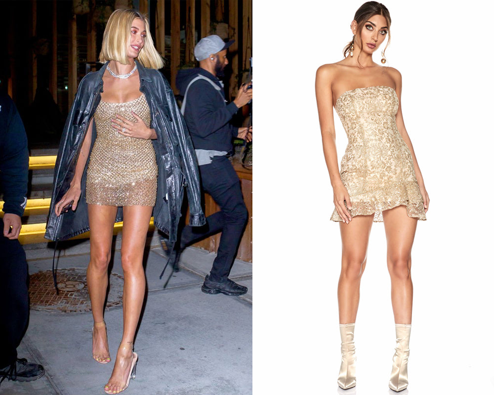 Hailey Baldwin | Gigi Hadid Birthday Party 2018 Gold Dress | SOFIA THE LABEL