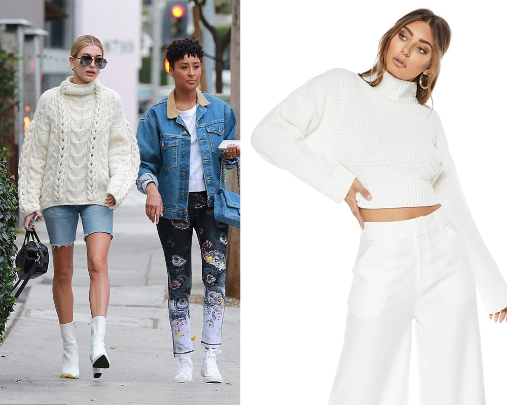 Hailey Baldwin | Cream Knit Jumper Streetstyle | SOFIA THE LABEL