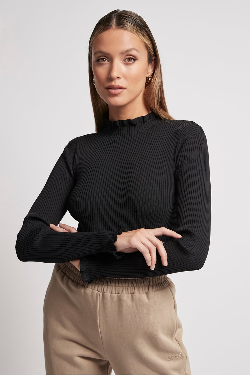 HIGH NECK RIB LONG SLEEVE BLACK Tops SOFIA The Label