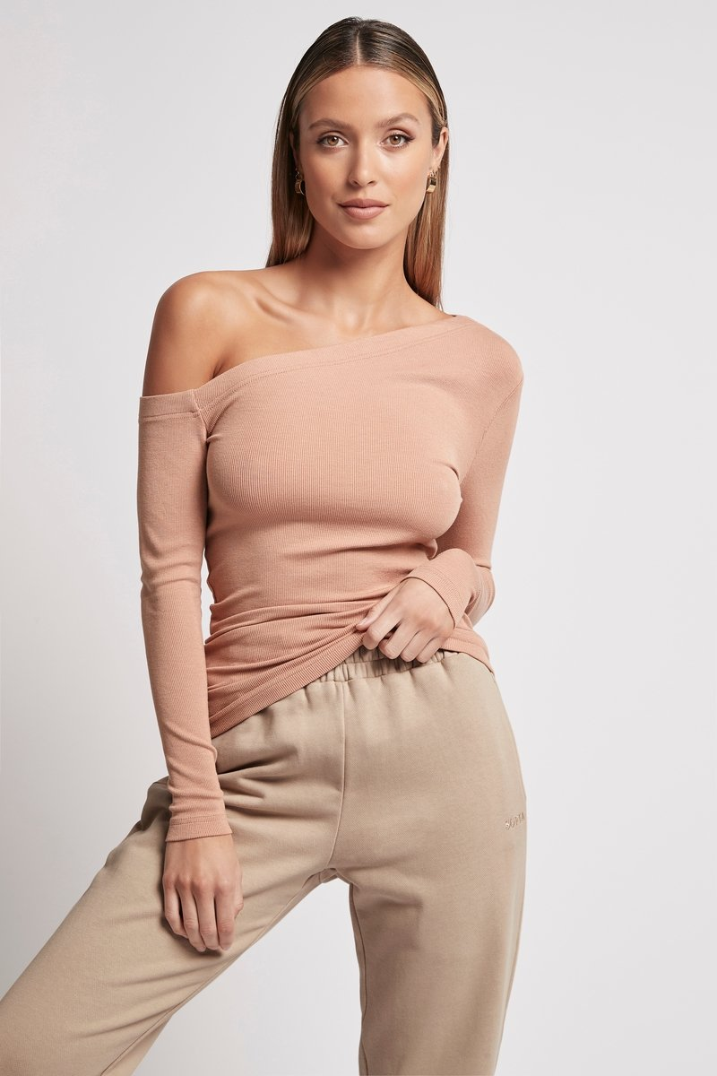 ONE SHOULDER RIB LONG SLEEVE PINK Tops SOFIA