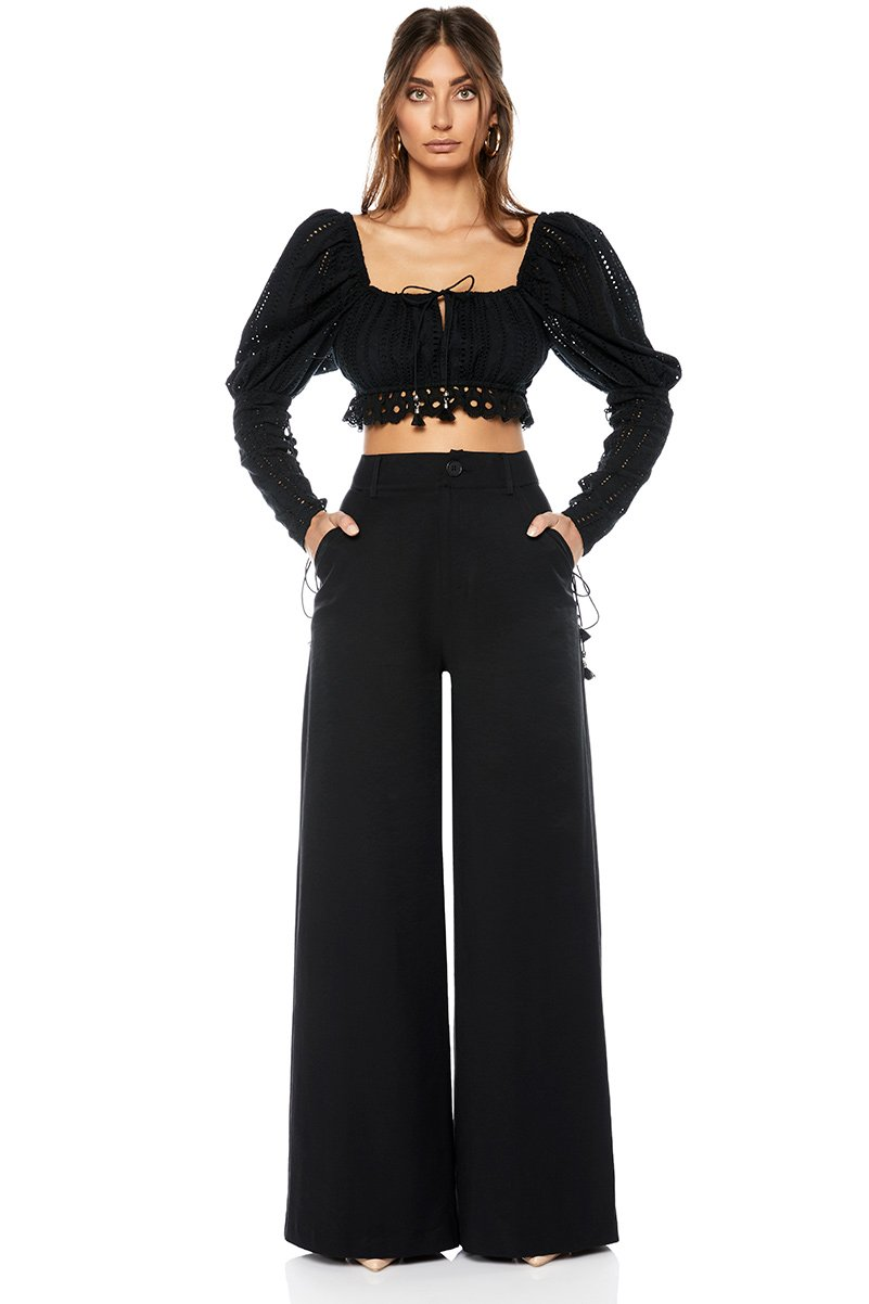 WHITEWAVE TROUSER - Black Pants SOFIA