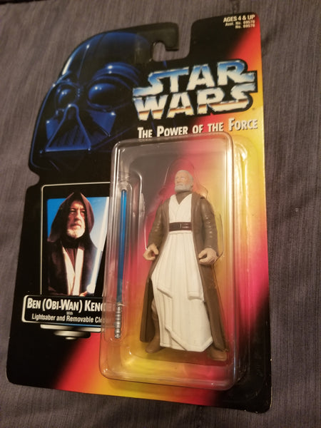 Star Wars Power Of The Force Ben (Obi-Wan) Kenobi w/ Lightsaber And Removable Cloak Action Figure 1995 New Sealed on Orange Card