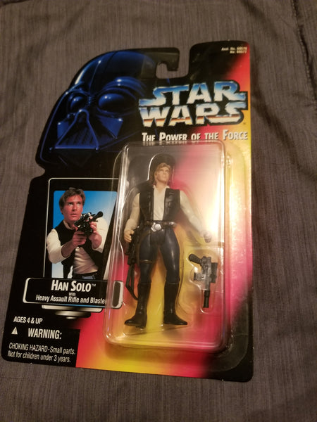 Star Wars Power Of The Force Han Solo Action Figure w/ Heavy Assault Rifle and Blaster Sealed On Orange Card New