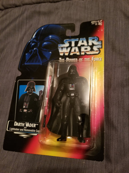 Star Wars Power Of The Force Darth Vader Action Figure w/ Lightsaber and Removable Cape 1995 Sealed On Orange Card New