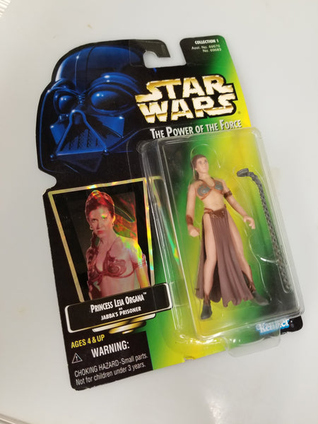 Star Wars Power Of The Force Princess Leia Organa Action Figure as Jabba's Prisoner Collection 1 1997 Sealed On Green Card New