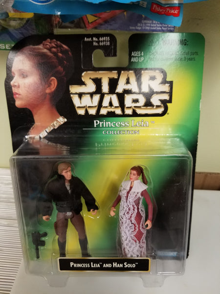 Star Wars Power Of The Force Princess Leia And Han Solo Two Pack 1997 Sealed on Green Card New