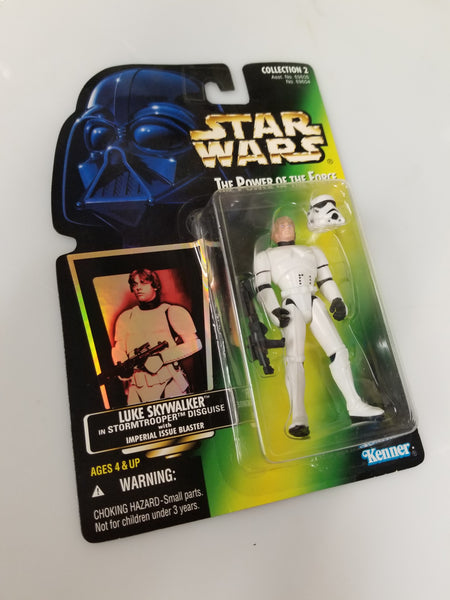 Star Wars Power Of The Force Luke Skywalker in Stormtrooper Disguise with Imperial Issue Blaster Action Figure Sealed on Green Card New