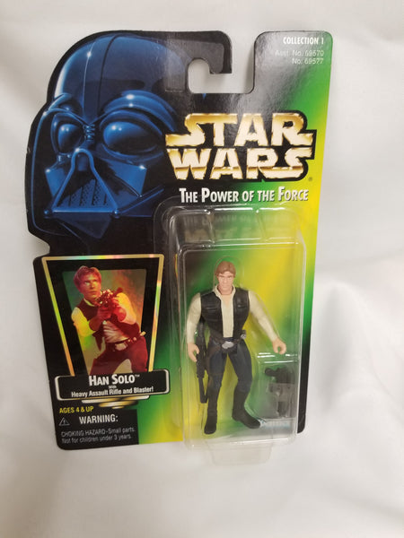 Star Wars Power Of The Force Han Solo w/ Heavy Assault Rifle and Blaster Action Figure 1997 Sealed on Green Card New