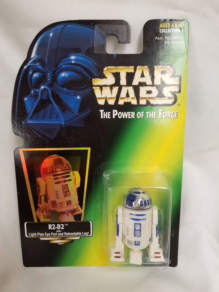 Star Wars Power Of The Force R2D2 w/ Light Pipe Eye Port and Retractable Leg Action Figure 1997 Sealed on Green Card New