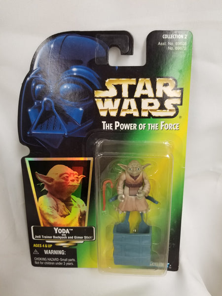 Star Wars Power Of The Force Yoda w/ Jedi Trainer Backpack and Gimer Stick Action Figure Sealed on Green Card New