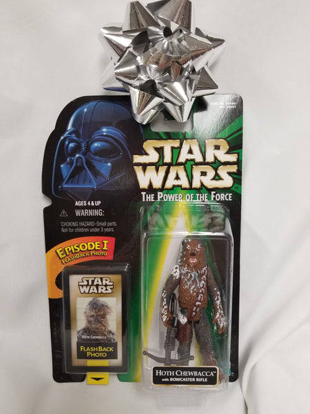 Star Wars Power Of The Force Hoth Chewbacca w/ Bowcaster Rifle Action Figure Sealed on Green Card New
