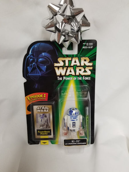 Star Wars Power Of The Force R2D2 w/ Launching Lightsaber Action Figure Sealed on Green Card New