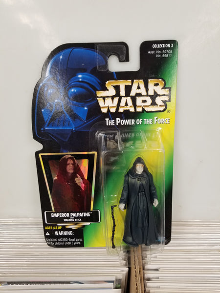 Star Wars Power Of The Force Emperor Palpatine Action Figure Sealed on Green Card New