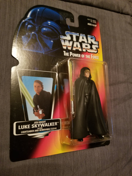 Star Wars Power Of The Force Luke Skywalker w/ Lightsaber and Removeable Cloak Action Figure Sealed on Orange Card New
