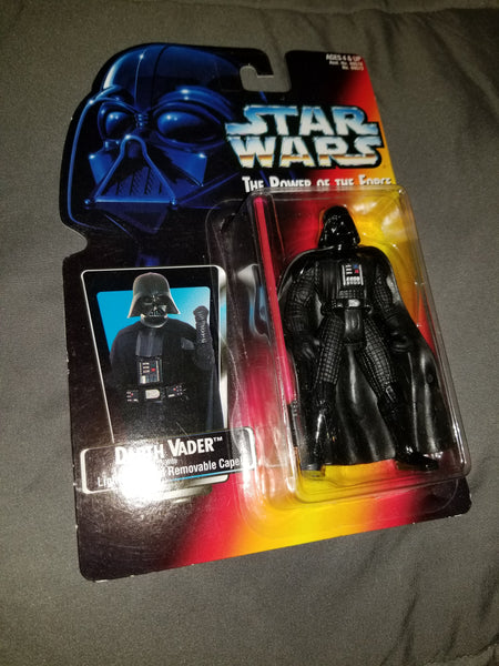 Star Wars Power Of The Force Darth Vader with Lightsaber (long) and Removable Cape Sealed on Orange Card New